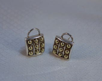 Lagos Caviar 18kt Gold and Sterling French Clip Earrings