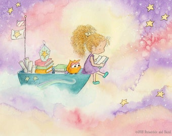 A Book About the Stars - Blonde Girl With Fair Skin - Fine Art Print