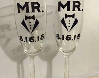 Gay/Same Gender champagne glasses/toasting flutes (set of 2)