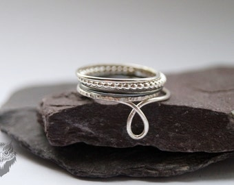 Five Skinny Sterling Silver Stacking Rings - stacking rings, hammered, silver bands, oxidised, stackable, looped, textured, thin bands
