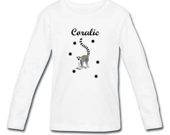 Girl long sleeve personalized with name lemur t-shirt