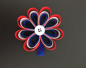 Red White and Blue Flower Hair Clip
