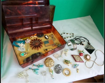 Vintage Jewelry Box Full of Jewelry