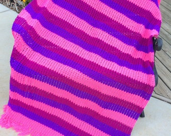 Vintage Hand Crochet Pink, Purple, and Plum Afghan/Lap Throw with Fringe