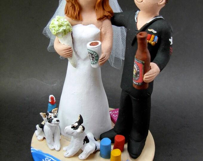 Sailor Groom Wedding Cake Topper, Starbucks Bride Wedding Anniversary Gift/Cake Topper, Soldier's Wedding Anniversary Gift/Cake Topper,