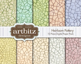 "Heirloom Pottery, 10 Piece Digital Crazed Glaze Scrapbooking Paper Pack, 12""x12"", 300 dpi .jpg, Instant Download!"