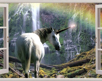 Waterfall Canyon Rainbows Unicorn 3D Effect Wall Sticker Art Decal 647