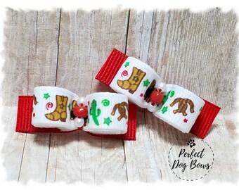 Dog Bows, Western Dog Bows, Cowboy Dog Bows, Pet Hair Bow, Dog Grooming Bow, Bows for Dogs, Cowgirl Dog Bows, Horseshoe Bows