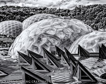 Eden Project photo, black and white Cornwall various sizes,