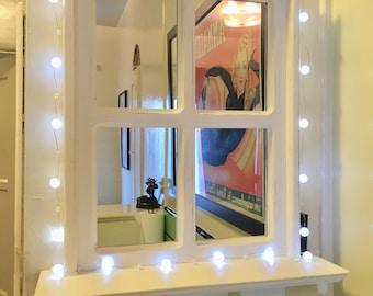 White Rustic Mirror Window Rustic Mirror Wall Mirror White Shabby Chic Wall Mirror Rustic Mirror With Shelf Rustic Mirror With Hooks