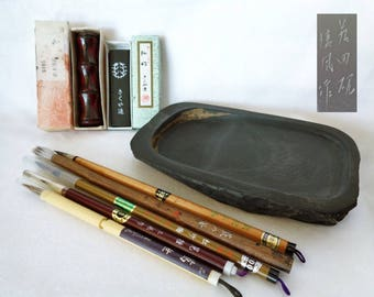 1086:Calligraphy tools lot,Japanese Calligraphy tools -5 brushes,Suzuri ink stone,Ink stick,Calligraphy brush rest,lot 8 pcs.,made in Japan