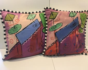 Pair of 80s hand painted decorative pillows w inserts *FREE SHIPPING*