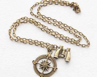Graduation Gift Ideas, Compass Necklace, Binoculars Necklace, Grad Gift, Compass Jewelry, Rustic Compass Necklace, Explorer Necklace