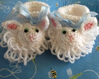 Hand Crocheted Lamb Booties Ready To Ship