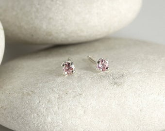 Tiny Pink Sapphire Earrings in Sterling Silver, second hole sapphire stud earrings