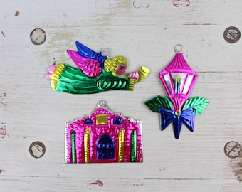 Handmade Mexican Tin Ornaments (Set of 3) Vintage Christmas Tree-Fiesta-Xmas-Gift Ideas-Holiday-Southwest-Coco-Amor-Folk Art-Handcrafted 101