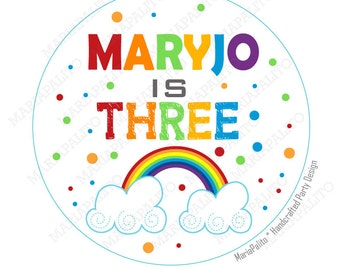 Rainbow Stickers, Party Personalized Rainbow PRINTED round Stickers, tags, Labels or Envelope Seals  A1184