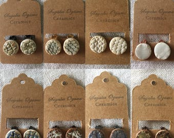 Handmade Ceramic round clip on earrings with rubber pads - Blue, Green, White, Brown etc