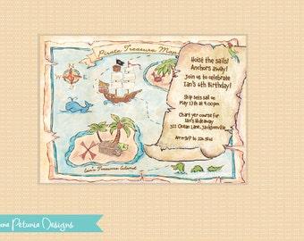Pirate Treasure Map Invitation