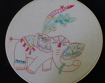 Circus Hoop Art, Circus performer hoop art, Elephant embroidery, Circus Elephant