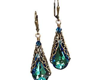 Burmuda Blue Filigree Earrings with Crystals from Swarovski