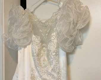 Vintage Wedding Dress Satin and Lace