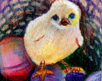 original art drawing aceo easter chick basket eggs