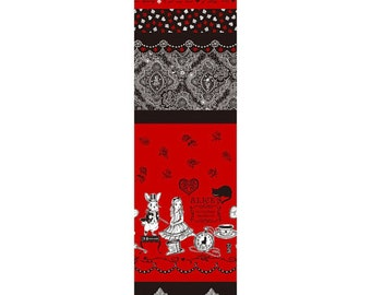 Alice Border Fabric Panel Lace L35-30 red, Judie's Cotton Alice in Wonderland by Lecien - 1 yard