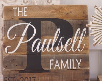 Name sign,last name sign, pallet name sign, rustic last name sign, wood name sign, rustic monogram sign, est sign, wedding pallet sign, gift