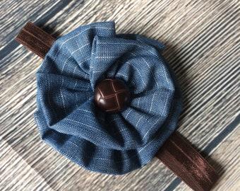 Flower headband, fabric headband, baby headband, girls headband, ladies headband, brown headband, denim headband