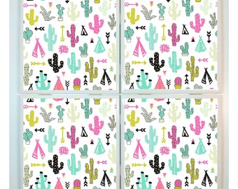 Cactus Coasters - set of 4 tile coasters - tropical coasters, succulent decor, gift, summer party, cacti, beach, desert, tribal
