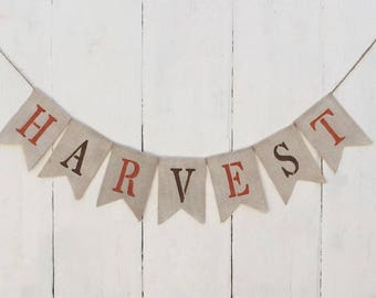 Harvest Banner,Harvest Burlap Banner,Thanksgiving Banner,Thanksgiving Decor,Fall Banner.Fall Decor,Rustic Fall Banner, Fall Farmhouse Banner