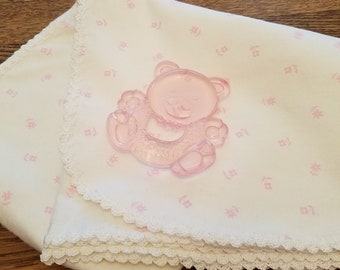 Baby Girl Pink and White Flannel Baby Receiving Blanket Personalized  Crocheted Edging, Personalized Baby Gift, Baby Shower Gift, Monogram