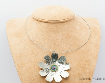 Handmade Flower PENDANT from alpaca  decorated with swarovski crystals