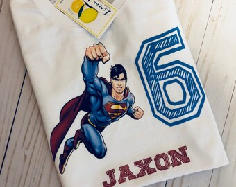 Superman Birthday Shirt with name and number
