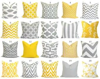 Pillow Cover.Yellow Pillow.Decorative Pillow Cover.Gray Pillow.Cushion Cover.Grey Cushion.Yellow Decor.Pillow.Grey Pillow.Gray Yellow Pillow