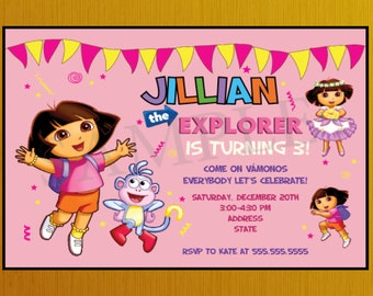 Personalized Dora the Explorer Birthday Party Invitation, Dora Birthday Invitation, Dora Birthday Party,Dora the Explorer Birthday