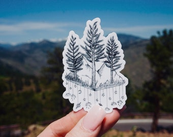 Trees & Mountains Laptop Sticker Decal - Waterproof laptop/water bottle sticker w/ trees, mountains, clouds, and space details