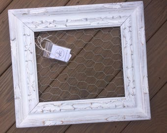 Chicken Wire Frame, White Chickenwire, White Chicken Wire, Shabby Chic, carved frame, Office Organization, gallery wall, Memo Board,