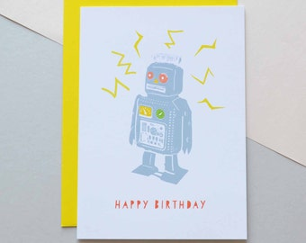 Robot - Birthday Card (Free UK delivery)