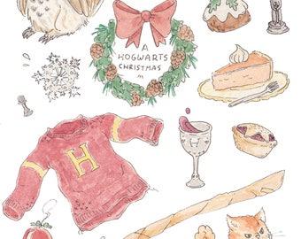 Harry Potter Hogwarts Christmas Illustration Print