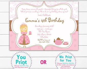 Tea Party Birthday Invitation -- Cupcake party -  princess tea - dress up tea party birthday