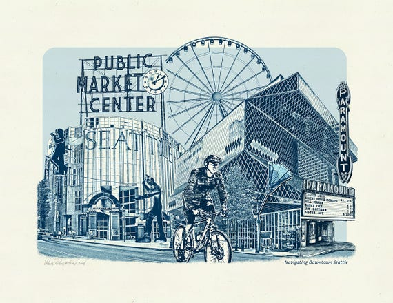 Navigating Downtown Seattle - Art Print of Seattle, Washington - 8.5x11 and 11x14