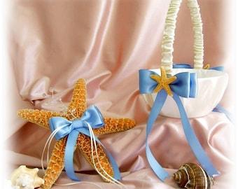 Beach Wedding Starfish Ring Pillow and Flower Girl Basket -Starfish Wedding Decorations Custom Colors