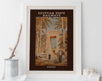 EGYPT TRAVEL POSTER - Vintage Travel Poster,  Karnac Poster, Cottage Wall Art, Rustic Decor, Retro Home Decor