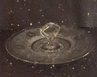 Center Handle Tray Vintage Indiana Sandwich Glass Serving Tray