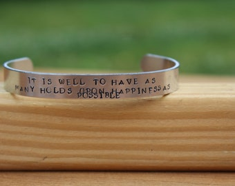 """Jane Austen - Northanger Abbey Quote Bracelet - """"It is well to have as many holds upon happiness as possible"""" - metal stamped cuff bracelet"""
