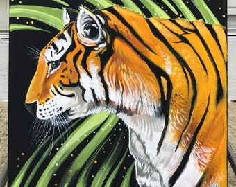 Tiger original wildlife art acrylic painting by Michigan artist Dennis A!