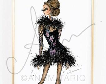 Fashion Illustration Print, Elie Saab Fall 17