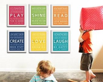 Typography art prints baby nursery art prints. Kids Wall Art. Inspiration quote prints children art. SET OF 6 Nursery art prints by Wallfry